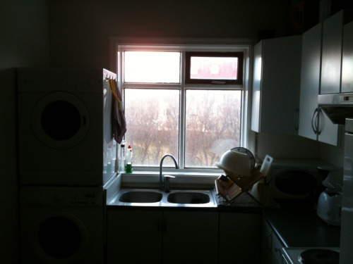 A quick snap of Russell's kitchen, as I loved the light streaming in through the windows.
