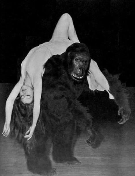 Famous gorilla impersonator Emil Van Horn with B movie actress Eleanor Wood at the New York World's Fair - 1939
