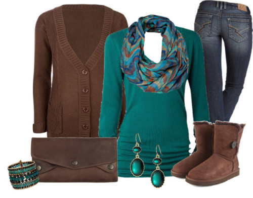 Warm in Brown & Light Blue by sanchez-gaby featuring banana republic ❤ liked on PolyvoreFull Tilt knit cardigan / Vneck shirt / Slim boot cut jeans / UGG Australia  boots, $285 / AllSaints leather handbag / Wallis bangle bracelet / Banana Republic  / Vero Moda , $22