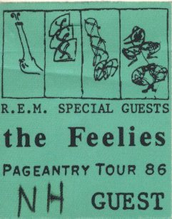 Saw The Feelies first on this tour, but I wasn't quite ready…. zippy49:  R.E.M. with The Feelies - Pageantry Tour 1986 tour pass