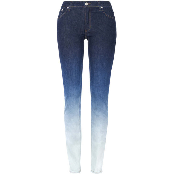 garotatonaarea:  Acne Blue Degrade Flex Skinny Jeans   ❤ liked on Polyvore (see more skinny leg jeans)