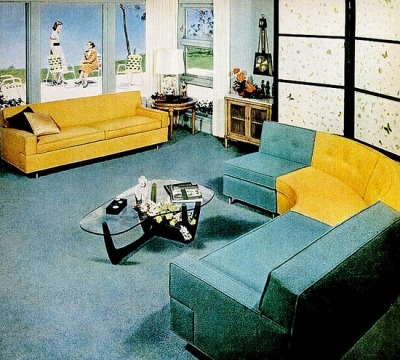 theniftyfifties:  1954 living room design.