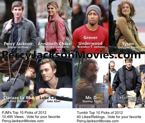 Pulling from PercyJacksonMovies.com, PercyJacksonMovies.Tumblr.com, and Facebook.com/PercyJacksonMovies, here are the top ten most viewed, liked, or re-blogged  pictures of 2012! Vote for your favorite by saying which one you like below as a comment. You can also vote by reblogging it on Tumblr or liking it on Facebook. The picture with the most votes will be crowned the Top Pick of 2012!