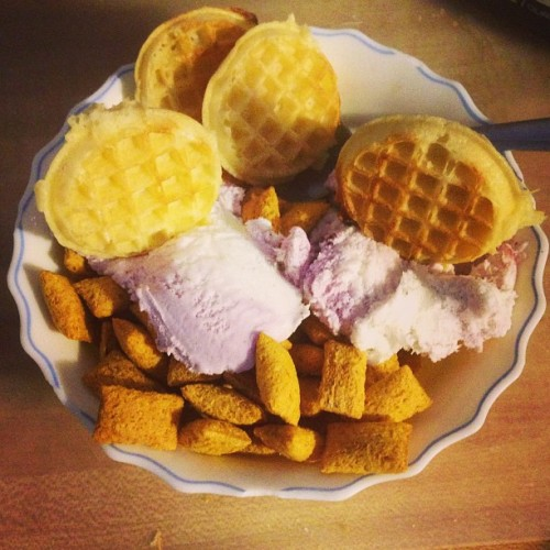 Miniature Eggo waffles, Breyers Dark Cherry Vanilla ice cream, & Kellogg's Krave Chocolate cereal. #MadGenius I think I'll let the ice cream melt before I begin to consume this creation.