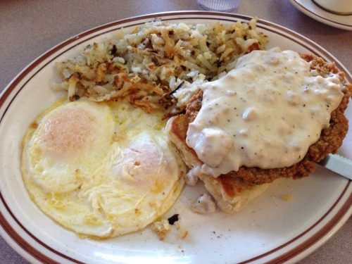 Country fried steak and eggs from Golden Nugget. Decided to treat the Missus to breakfast; partly to be nice, and partly because she'd previously told me I needed to do the dishes so she could cook. Let's put those dishes off for a couple more hours, shall we? This weekend feels like it's barely started and it's almost over.