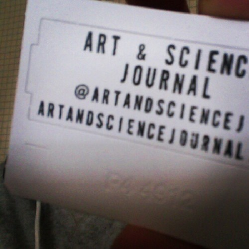 Art and Science Journal Stamp I recently got a stamp maker so that I could have professional-looking signage to go on all things Art & Science Journal: envelopes, notebooks, and the works! It might end up on everything else too since it's so much fun :)