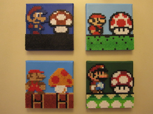 "nestalgicbits submitted:  Hey guys! Hope you dig it! Thanks! -Joe ""Mario and Mushroom Evolution"" by Joseph Uzzo Available on Etsy"