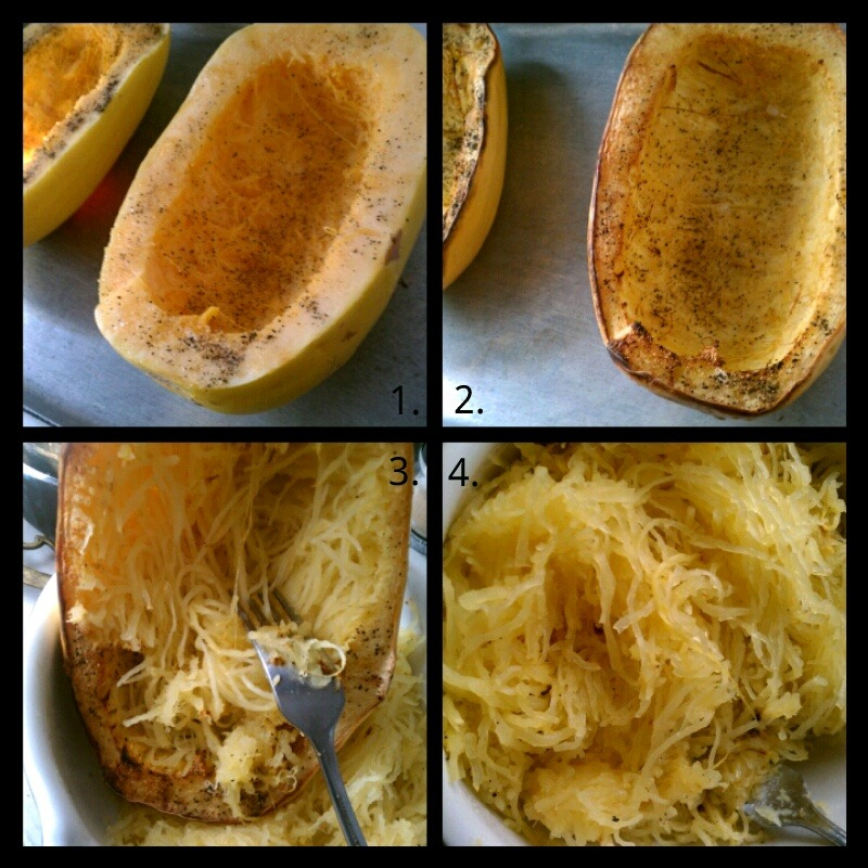 Made spaghetti squash today.  1. Brush EVO all over, sprinkle pepper and garlic powder.  2. Preheat oven 400 degrees then bake for an hour.  3. Scrape with a fork. (Scrape vertical.)  4. There u go! Now add whatever u want to it!  ENJOY!!