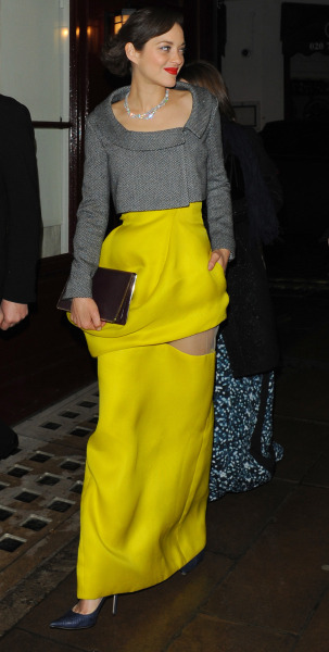 suicideblonde:  Marion Cotillard (in Dior) leaving the BAFTAs afterpary in London, February 10th   If I wore this, I'd freak out every time I looked down convinced I ripped my skirt. (I like it except for the skirt window)