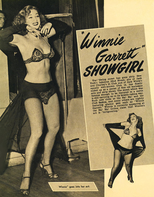 "Winnie Garrett is featured in the January 1949 edition of 'SIR!' magazine.. It wasn't uncommon for 40's-era Men's mag publishers to have their Art Departments ""paint in"" additional clothing to skirt prevailing obscenity laws.. Hence, the odd-looking (black) shorts and wide bands on Winnie's bra!"