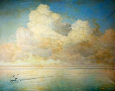 "windypoplarsroom:  William Peter Watson ""Seagulls on a Calm Sea"""