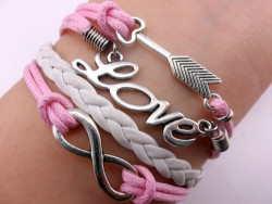 Infinity Bangle Antique Silver Karma Love and Arrows Pink Rope Leather Bracelet | eBay on We Heart It. http://weheartit.com/entry/61993073/via/Sincola