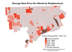 Detroit Average Rent Price Per Month by Neighborhood I was really curious about this when my wife and I were apartment searching in Sept. 2012, I recently found the data from Zillow and decided to put it together. Zillow updates their data each week, so this is from data accessed on 18 Feb 2013.