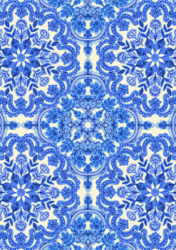 Cobalt Blue & China White Folk Art Pattern Art Print by Micklyn | Society6 on We Heart It.