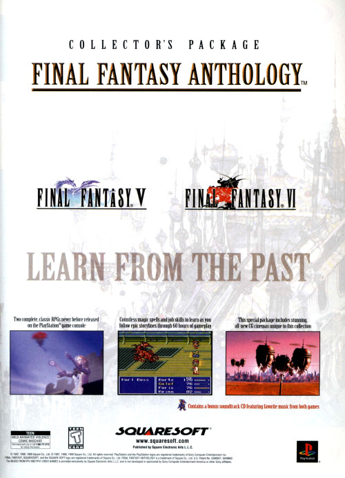 Ad for Final Fantasy Anthology.
