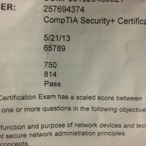 Security+ Certified!
