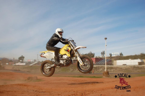 First time catching some air at my supermoto track day yesterday.