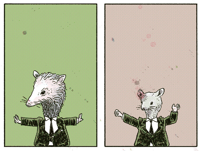 "H.: Possum, Mouse Preview from my four-page story in the upcoming Nobrow #8, ""Hysteria,"" available for preorder now. I'll be running two panels a day over the next month, leading up to its release at the Toronto Comic Arts Festival."