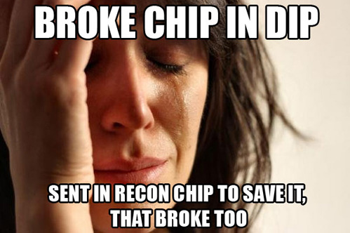 tastefullyoffensive:  First World Chip Problems[via]  Happens too often..Those dastardly chip companies!