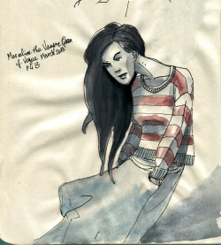I fanarted! Ink and watercolors on paper— Marceline the Vampire Queen of Adventure Time! (wearing what was on page 413 of Vogue this month)