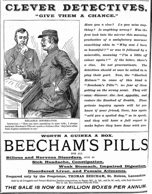 1894 Beecham's Pill advertisement starring Sherlock Holmes (HT Digital Victorianist)