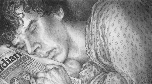 """Sherlock after the Fall: Sleeping"" 35th in my series. This drawing serves as an illustration for a passage in the final chapter of Over Hill and Under Hill, which is quoted below:  The photograph was a close-up of a sleeping Sherlock. A beam of light illuminated his friend's tired, marked features – it must have been taken during his time abroad. It seemed to have been shot through a half open door, stealthily, and revealed his friend in all his vulnerability. Sherlock was lying on some kind sofa, a couch pillow under his head and a patterned throw over his shoulders. He was sleeping on his right side, his left hand resting on a folded copy of the Guardian. A closer look revealed which issue: the one that announced Sherlock's name had been cleared. It had featured an old photograph of himself and Sherlock next to the article. In the photo [John] now held in his hand, Sherlock's fingers were lying lightly on the chest of the John in the newspaper photograph. Sherlock's expression was relaxed, yet a faint frown seemed to be creasing his features as if, even in sleep, he was worrying about his friend."