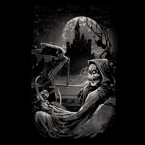 Going Home by Wolfinger The skeleton of death cruises to the sleepy hallow castle. A touch of death, creepy and scary movie as you cruise to hell's gates. Check out the t shirt….