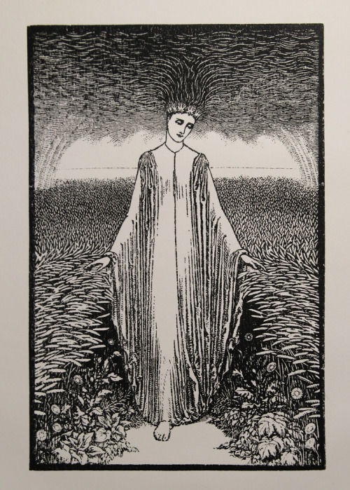 The Lady of the Rains (1886), woodcut by Arthur Burgess, issue of The Century Guild Hobby Horse.