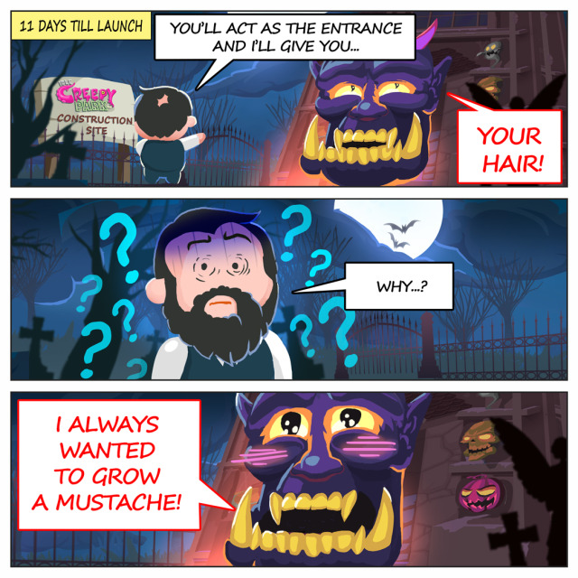 Creepy Story of Idle Creepy Park Inc. - Day 20Is a deal with a demon the only way out of this situation? Director doesnt seem to be happy about it... https://play.google.com/store/apps/details?id=com.sheepyard.tycoon.clicker.simulator.idle.creepy.park #comic#funny#indie#game#comics