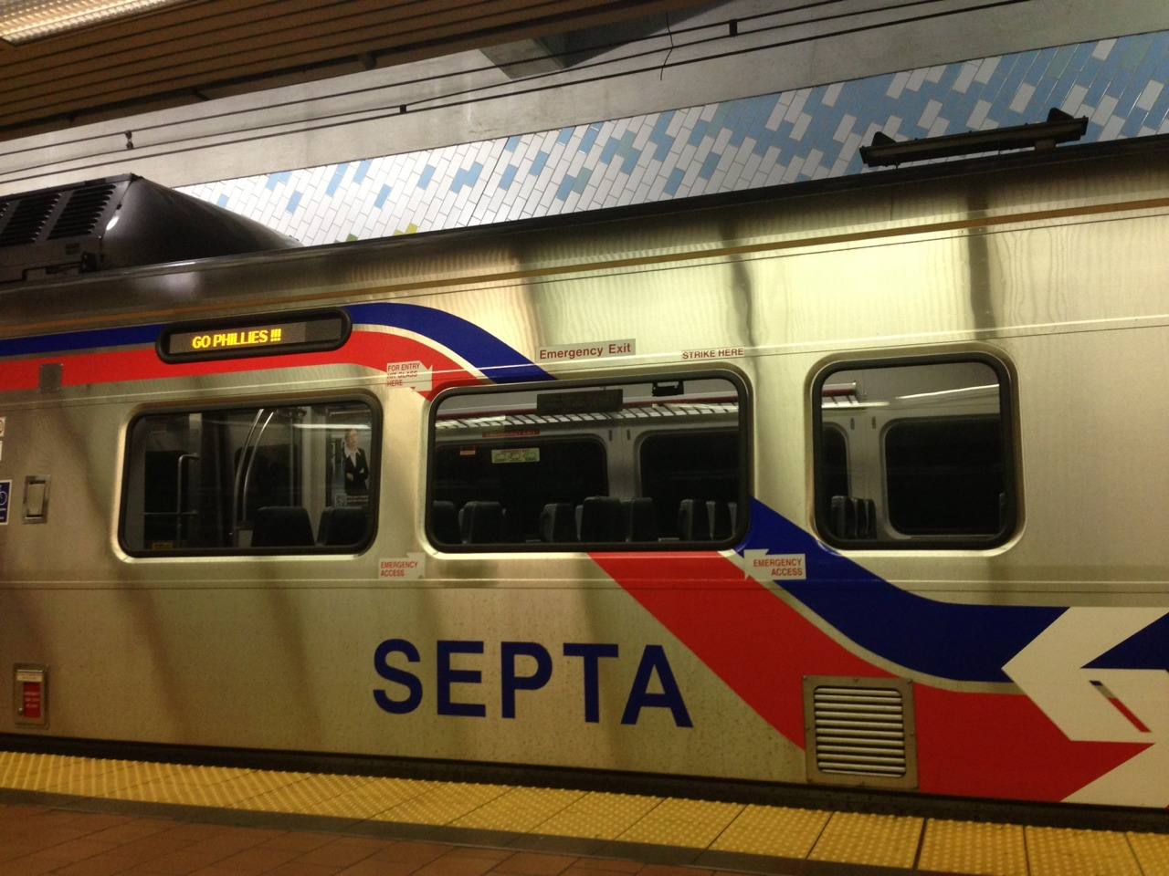 "tonight's an off night, but septa says, ""go phillies."""