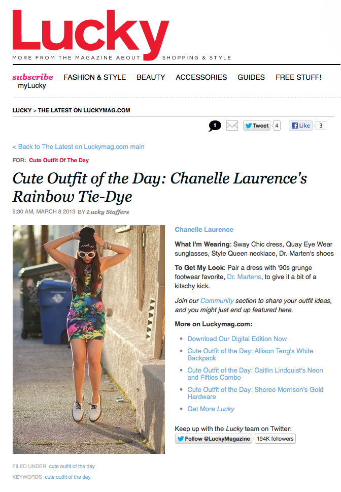 SQ x Cute Outfits Blogger Chanelle Laurence was the 'Cute Outfit of the Day' on Lucky Magazine last week. She's wearing a great neon dress, Dr. Martens, a beanie and The Dunaway Necklace.
