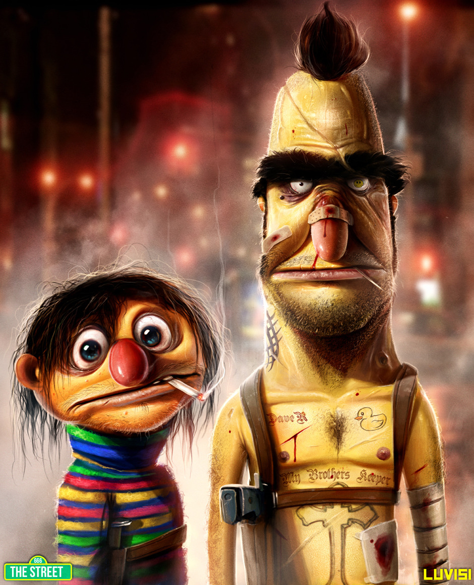 "justinrampage:  Bert & Ernie Reimagined as Ruthless Criminals by Dan LuVisi Sesame Street characters Bert and Ernie have their lives turned upside down in California-based digital concept artist Dan LuVisi's new pop culture illustration titled, ""My Brother's Keeper."" It's looks like a rad mixture of Breaking Bad and Taxi Driver. ""Ernie, it's time to cook!""  ""Well here's the story. I imagined Bert as a Marine who left his little brother behind for the Vietnam war. Over the years, Ernie started to turn into a junkie without his brother's guidance, falling into the wrong crowd and dealing/using with the wrong people—thus making some very bad mistakes.Until Bert returned, leaving one war, only to fight another for his brother. Oh man, Ernie. What a psycho.""  Related Rampage: ""Yoshi"" (More) Follow the artist: Website 