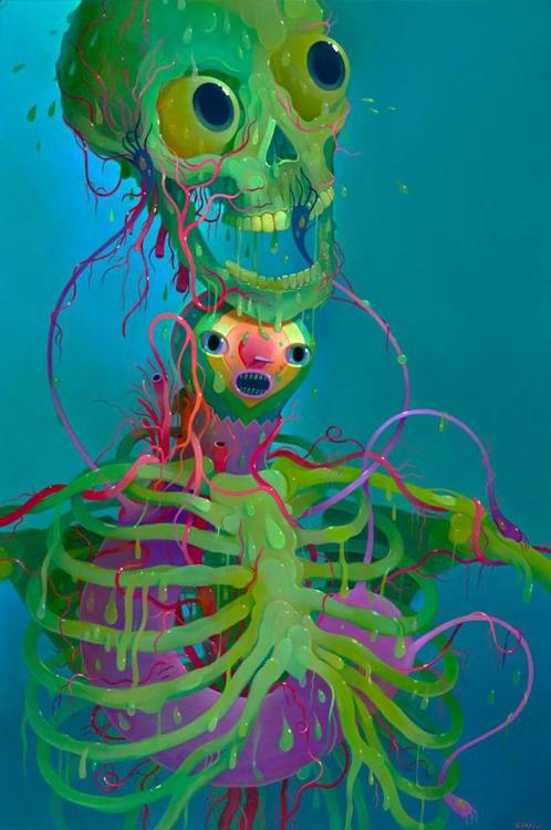 "rfmmsd:  Artist & Illustrator: Charlie Immer ""Slime Bones"" Oil on Panel 24"" x 36""  http://charlieimmer.com/"