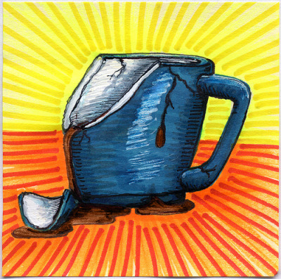 "I drew you a broken blue mug of coffee It must have been dropped while filling it up. These kind of coffee tragedies are always sad. That moment when your mug leaves your hand and you watch it slowly fall to the floor. I haven't had this type of thing happen to me in a while but the memories stick with you. I hope you like it. This is part of my ""The Daily Coffee"" marker drawing series."