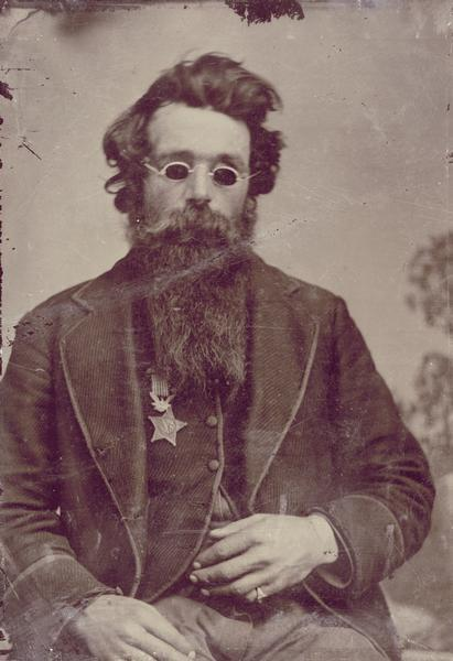 ca. 1870, [tintype portrait of Francis Jefferson Coates]      Coates enlisted on August 29, 1861, and served as a Corporal and Sergeant in the 7th Wisconsin Infantry, Company H. He was wounded at South Mountain (September 14, 1862) and lost both eyes at Gettysburg in 1863. He was awarded the rank of Brevet Captain and the Medal of Honor for gallantry in action at Gettysburg on July 1, 1863. He was mustered out on September 1, 1864 at the expiration of his term of service.      via the Wisconsin Historical Society, Small Formats Special Storage Lot