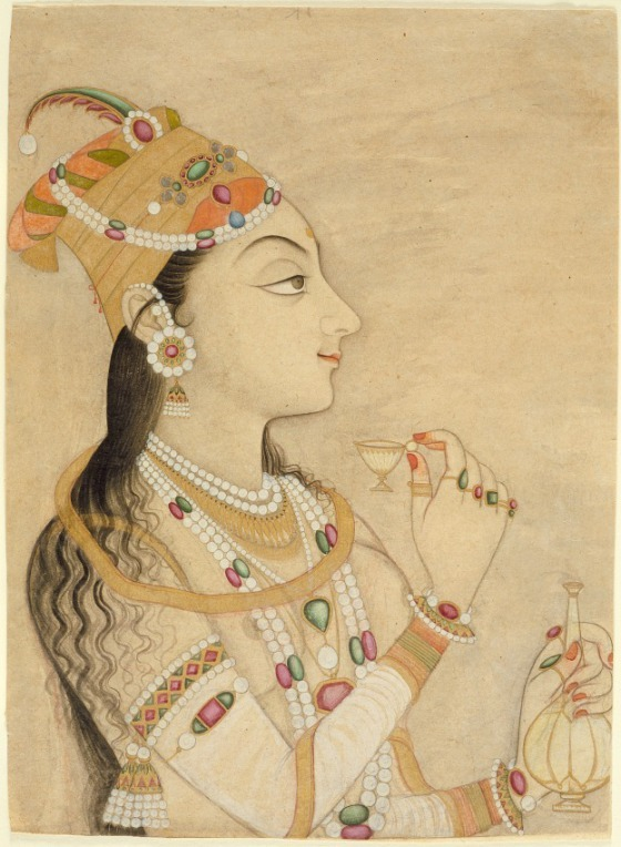 purplefigtree:  Idealized Portrait of the Mughal Empress Nur Jahan (1577-1645)? Rajasthan, ca. 1725-1750.  Opaque watercolour and gold on paper.