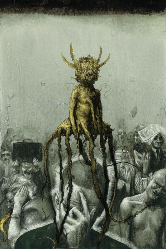 "On View: Santiago Caruso's ""Ars Obscura"" at Last Rites Gallery   by Nastia Voynovskaya  /  HiFructose magazine    Last Saturday, New York's Last Rites Gallery presented Argentinian artist Santiago Caruso's first-ever US show, ""Ars Obscura: Terror y Miseria."" A dark and enigmatic body of work, the pieces in the show were divided into three series: ""Superstition and Inquisition,"" ""Revealers, Prophets & Liars"" and ""Profound Shadow From the Past."" The works in the show reference dark surrealism as well as medieval religious painting. Caruso explores the perverse elements of civilization through macabre images and occult religious symbols. Take a look at some of the works in the show after the jump, images courtesy of Last Rites Gallery, and check out the show before it closes on April 6. More »                       Share"