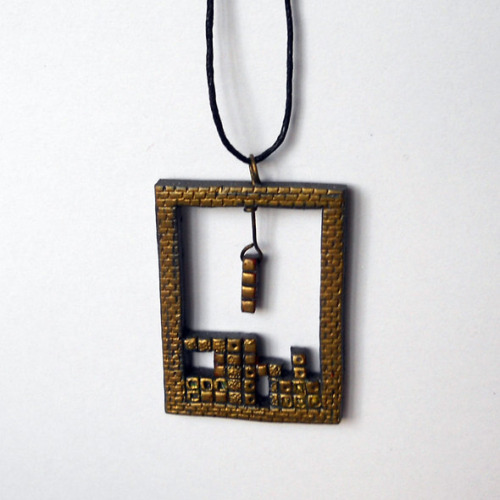 Old School Tetris Necklace Available for $15 USD at Gem's Gems on Etsy.