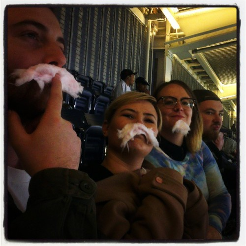 Yankee-licious cotton candy (at Yankee Stadium)