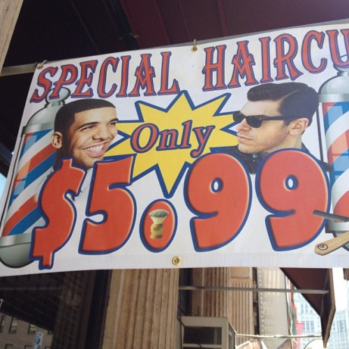 azipaybarah:  If you want a haircut like Drake's, apparently it's not that expensive.