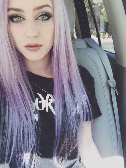 purple dip dye on blonde hair | Tumblr