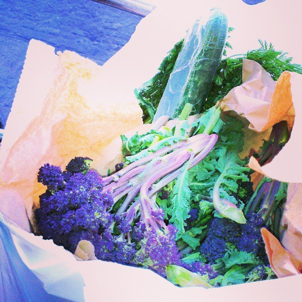 Groceries from Kings Meads Square - purple sprouting broccoli, carrots, Jerusalem artichokes and other goodies. #vegan, #market, #vegetables, #foodporn , #food, #healthy, #yummy, #instadaily, #instafood , #instagood