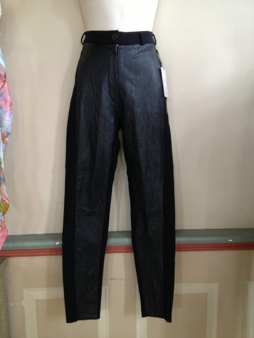 Skinny leg pants with leather detail