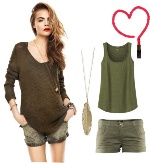 anabelenpina:  More Cara by heather-caniff featuring h&m shorts ❤ liked on PolyvoreUniqlo  shirt / H&M  shorts, $12 / Free People  necklace