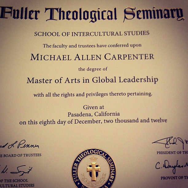 It's officially official. I finished seminary!