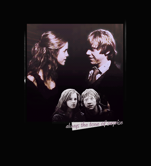 "ohhelga:  The Potter Generation (x) 4. Any two ships.  Ron Weasley x Hermione Granger Ron tripped dazedly toward Harry and Hermione. ""You're okay,"" he mumbled, before Hermione flew at him and hugged him tightly. ""I thought – I thought – "" ""M all right,"" said Ron, patting her on the back. ""M fine.""""Ron was great,"" said Tonks warmly, relinquishing her hold on Lupin. ""Wonderful. Stunned one of the Death Eaters, straight to the head, and when you're aiming at a moving target from a flying broom –"" ""You did?"" said Hermione, gazing up at Ron with her arms still around his neck. ""Always the tone of surprise,"" he said grumpily, breaking free."