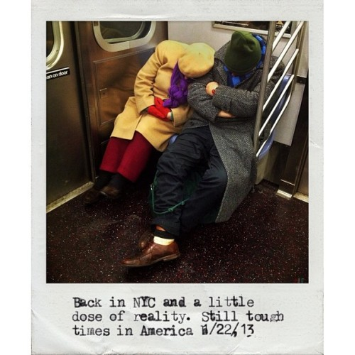 New York City, NY | January 22, 2013 Homeless couple on the C train. #photojournalism #photography #documentary #mobilephotography #iphoneonly #newyork #nyc #subway #streetphotography #homeless  (at MTA Subway - W 4th St/Washington Sq (A/B/C/D/E/F/M))