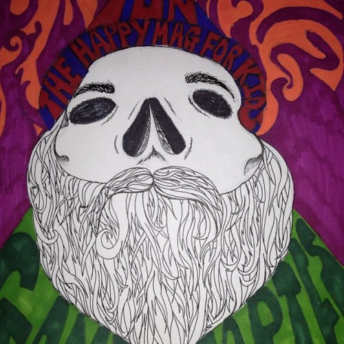 #art #sharpie #colour #skull #bone #beard #ink #illustration #pen #dead #wizard #magic