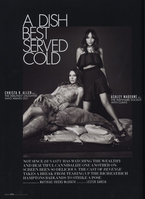 Ashley Madekwe and Christa B Allen from Revenge shot for ELLE Magazine styled by Jamal