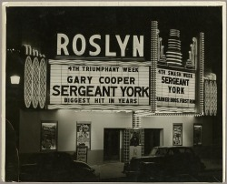 Roslyn Theater850 North Howard Street, Baltimore, MarylandNot dated (ca. 1941)Unidentified photographer8x10 inch gelatin printTriangle Sign Company CollectionBaltimore City Life Museum CollectionMaryland Historical Society1982.2.6 Maryland General Hospital now stands on this site. Google Maps Street View:  View Larger Map